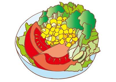 小学生肥満食事と運動サラダ