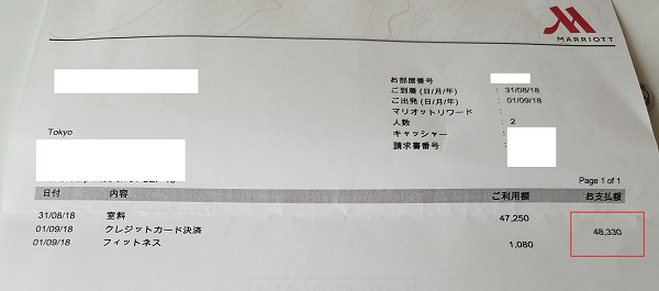 名古屋マリオットホテルコンシェルジュフロア利用の領収書